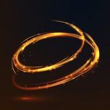 Накаляя золото огня объезжает световой эффект на черной предпосылке бесплатная иллюстрация