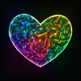 Накаляя красочное стеклянное сердце бесплатная иллюстрация