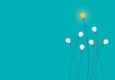 Накаляя мозг внутри электрической лампочки, концепция идеи, плоская иллюстрация стиля Стоковое Изображение RF