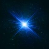 Накаляя реалистическая голубая звезда - стилизованный объект иллюстрация вектора