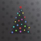 Накаляя рождественская елка и света invitation new year зима белизны снежинок предпосылки голубая Стоковое Изображение RF