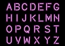 Накаляя розовый неоновый алфавит изолированный и прозрачный иллюстрация штока