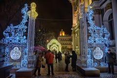 Накаляя строб - украшения рождества в Зимнем дворце Стоковая Фотография RF