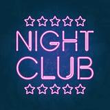 Накаляя шильдик ночного клуба неоновых свет Стоковые Фотографии RF