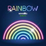 Накаляя щетки неоновых свет в цветах радуги Стоковая Фотография RF