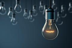 Накаляя электрическая лампочка смертной казни через повешение Стоковое Фото
