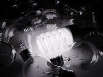 Накаляя электрическая лампочка среди других одних Стоковые Изображения RF