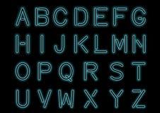 Накаляя Cyan голубой неоновый алфавит и прозрачный Изготовленный на заказ шрифт для дизайна Сияющие письма и символы иллюстрация вектора