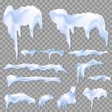 Накидки снега белые и комплект куч прозрачный реалистический изолировали иллюстрацию вектора Стоковая Фотография