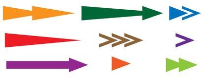 Наконечник, комплект указателя Формы стрелки, элементы стрелки Плоская стрелка иллюстрация вектора