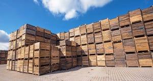 Накопление большое количество деревянных клетей на месте Стоковое фото RF