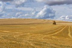 Накошенное поле зерна Осер Франция стоковое фото rf