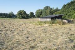 Накошенное поле с сеном в Баварии Стоковые Изображения