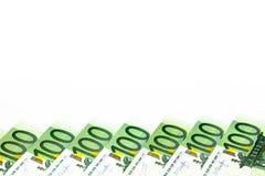 накрените веревочка примечания дег фокуса 100 евро 5 евро предпосылка наличных денег евро Банкноты денег евро Стоковая Фотография