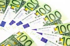 накрените веревочка примечания дег фокуса 100 евро 5 евро предпосылка наличных денег евро Банкноты денег евро Стоковое Изображение RF