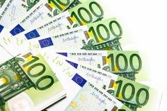накрените веревочка примечания дег фокуса 100 евро 5 евро предпосылка наличных денег евро Банкноты денег евро Стоковые Фото