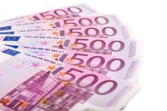 накрените веревочка примечания дег фокуса 100 евро 5 евро Стоковая Фотография