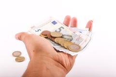 накрените веревочка примечания дег фокуса 100 евро 5 евро Стоковая Фотография RF
