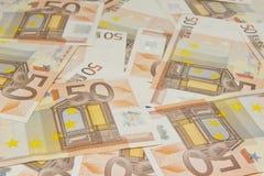 накрените веревочка примечания дег фокуса 100 евро 5 евро Стоковые Изображения RF