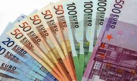накрените примечания язычка евро Стоковое Изображение RF