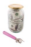 накрените стеклянные деньги стоковые фотографии rf
