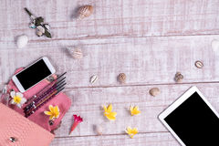 Накладные расходы предметы первой необходимости возражают в блоггере моды Взгляд сверху сумки snakeskin питона моды, smartphone,  Стоковые Фото