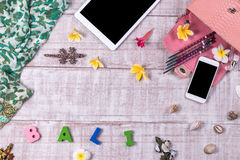 Накладные расходы предметы первой необходимости возражают в блоггере моды Взгляд сверху сумки, слова & x22 snakeskin питона моды; Стоковое Фото