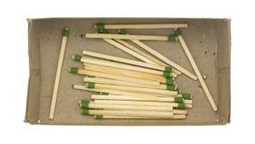 Наклоненные зеленым цветом большие спички кухни в коробке Стоковые Фото