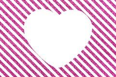 Наклоненные glittery линии с большим белым сердцем Стоковое Изображение RF