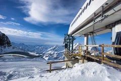 Наклон лыжи в Alagna, Италию Стоковые Фотографии RF