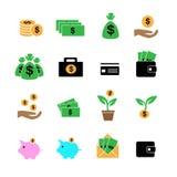 Наличные деньги, вклад, выгода и имущества в установленных значках цвета Стоковое фото RF