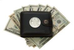 Наличные деньги доллара бумажника и бумаги монетки бита Стоковое фото RF