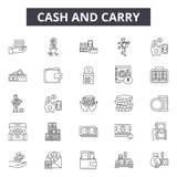 Наличные деньги - и - снесите линию значки, знаки, набор вектора, концеп бесплатная иллюстрация
