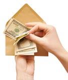 наличные деньги подсчитывая руки габарита Стоковая Фотография