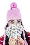 Наличные деньги удерживания женщины Стоковая Фотография