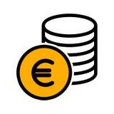 Наличные деньги чеканят значок евро r иллюстрация штока