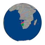 Намибия на политическом глобусе Стоковая Фотография RF