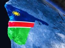 Намибия с врезанным флагом от космоса Стоковое Изображение RF