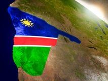 Намибия с флагом в восходящем солнце Стоковые Фото