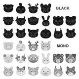 Намордники значков животных черных в собрании комплекта для дизайна Одичалые и домашние животные vector сеть запаса символа иллюстрация вектора