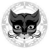 Намордник кота искусства серый в декоративной античной рамке бесплатная иллюстрация