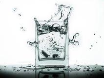 Намочите выплеск в стекле изолированном на белой предпосылке Стоковые Фотографии RF