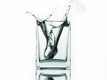 Намочите выплеск в стекле изолированном на белой предпосылке Стоковое Изображение