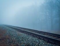 Намочите железную дорогу в тумане утра Стоковые Изображения RF