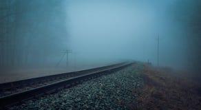 Намочите железную дорогу в тумане утра Стоковые Фотографии RF