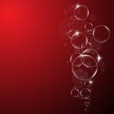 Намочите пузыри на красной и черной предпосылке EPS10 Стоковые Фото