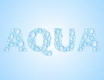 Намочите слово сформированное падениями AQUA - vector предпосылка Стоковое Изображение RF