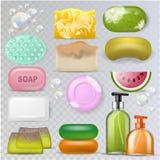 Намыльте мягк-мыло гигиены вектора и soaper ванны с комплектом красоты курорта иллюстрации мыл-пузыря заботы кожи ванной комнаты Стоковые Фотографии RF