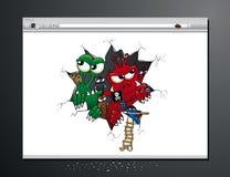 Нападение вируса на вашем браузере интернета Стоковые Изображения