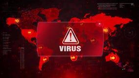 Нападение сигнала тревоги ВИРУСА предупреждая на карту мира экрана акции видеоматериалы